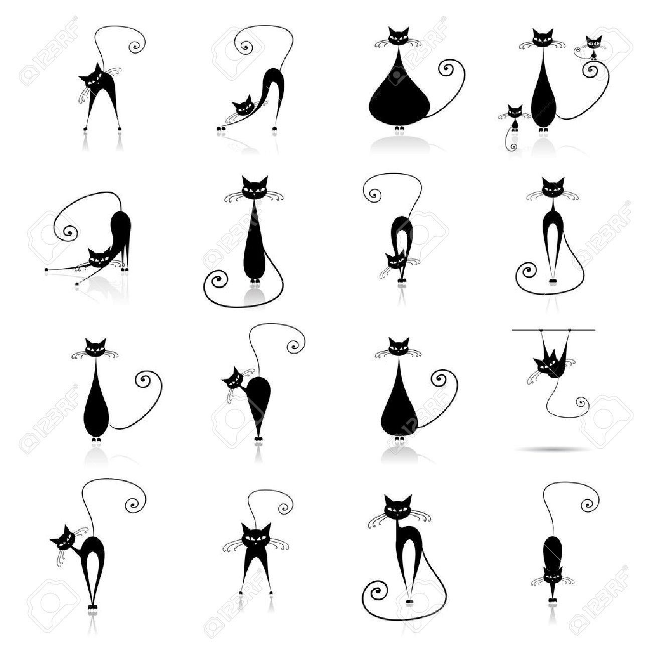 Black cat silhouette collections Stock Vector - 5942692