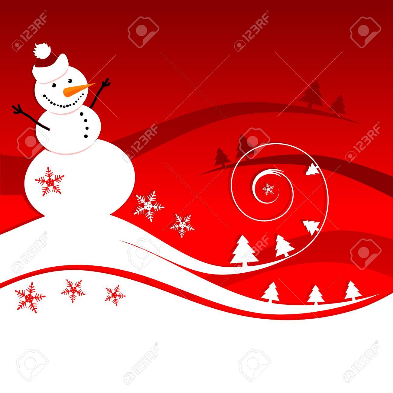 Happy snowman, christmas card Stock Vector - 6007389