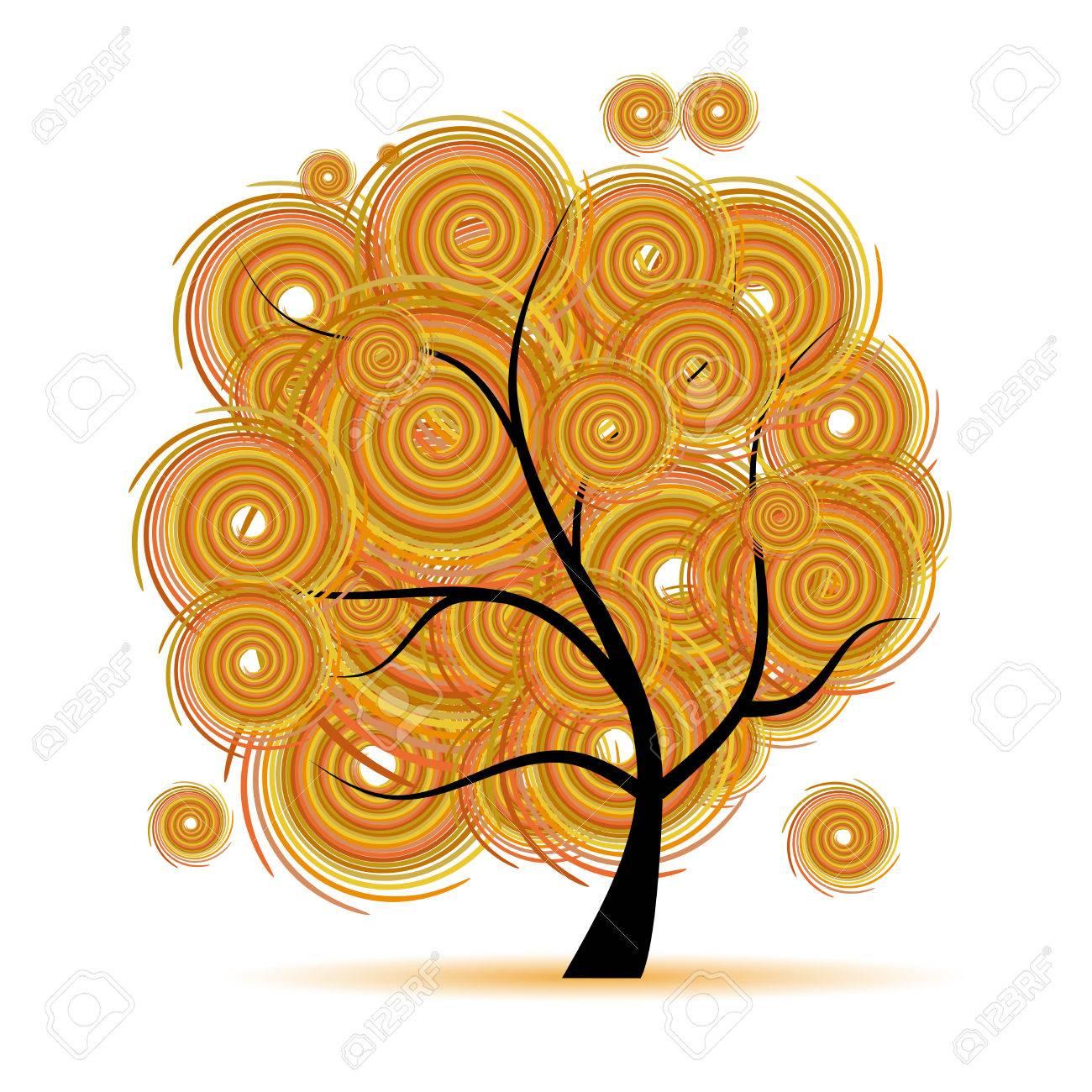 Art tree fantasy, autumn season Stock Vector - 6040056