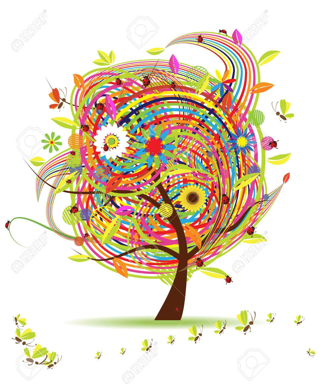 Funny spring tree for your design Stock Vector - 6416676