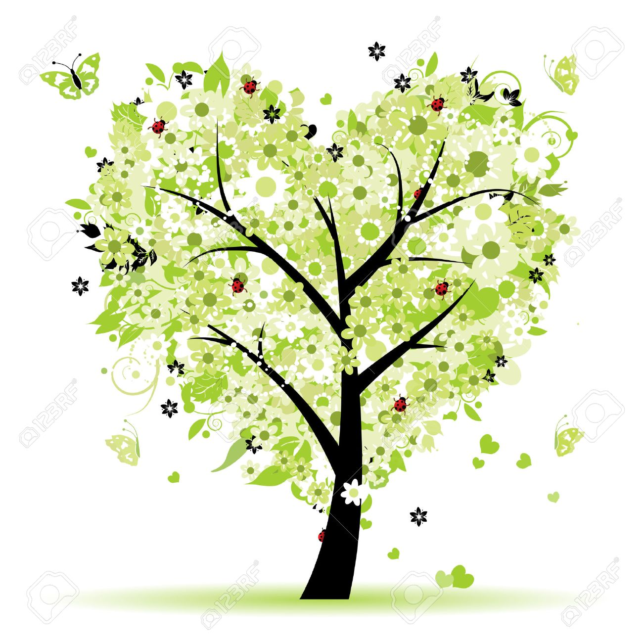 Valentine tree, love, leaf from hearts Stock Vector - 6429908