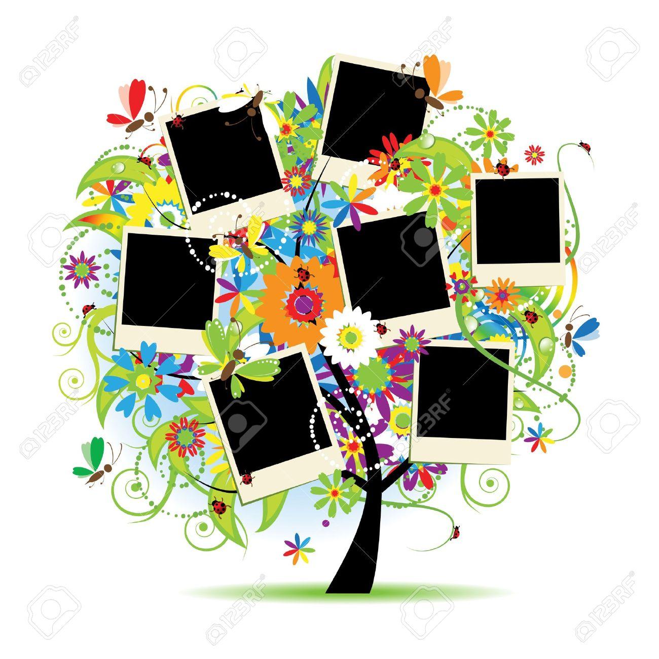Lbum De Familia. Árbol Floral Con Marcos Para Tus Fotos ...
