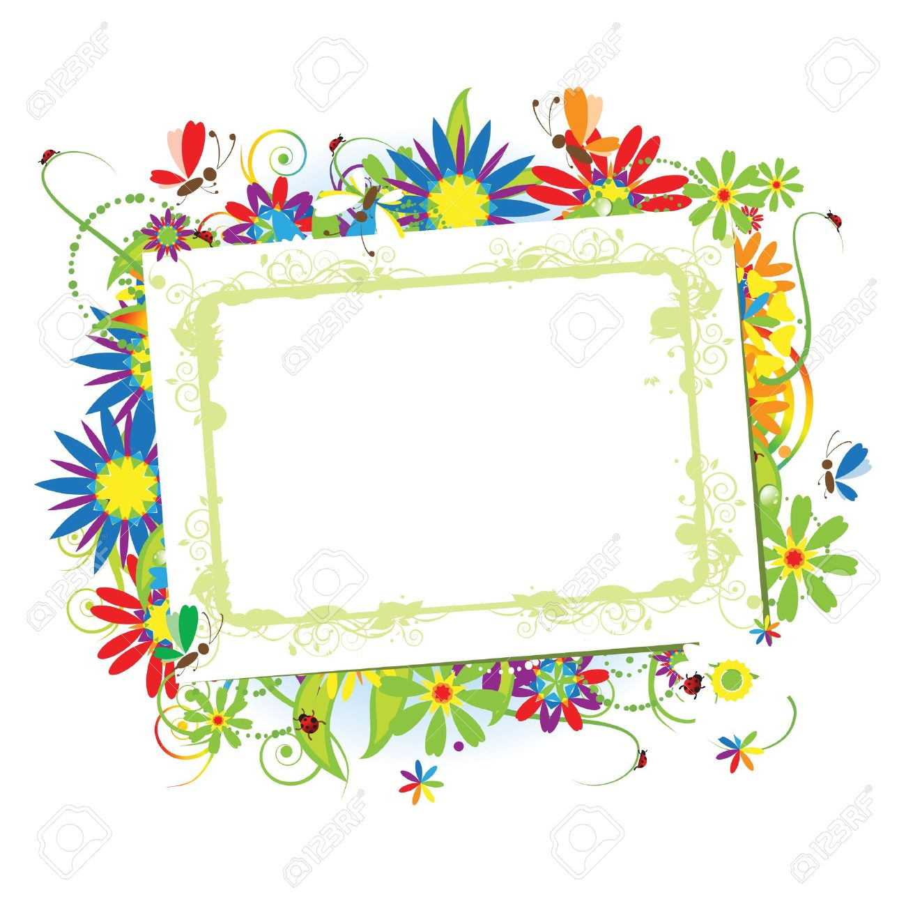 Floral Frame Beautiful With Place For Your Text Royalty Free ...