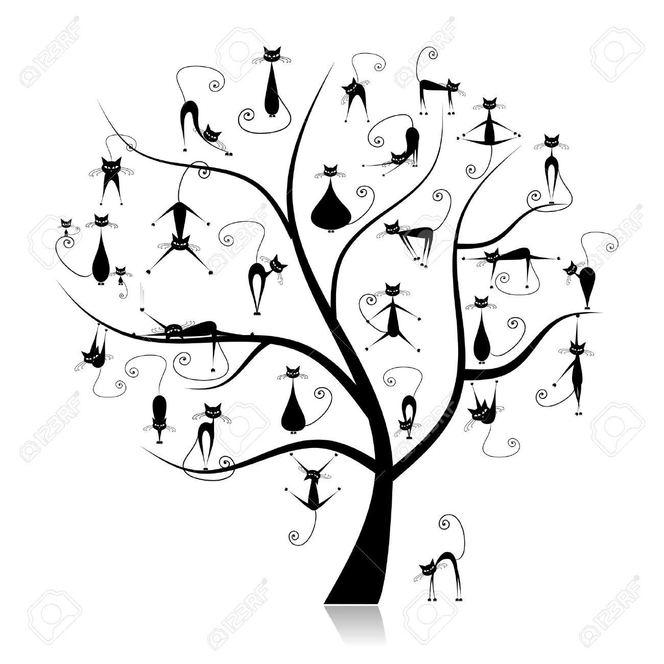 Family cats tree, 27 black silhouettes funny Stock Vector - 6927726