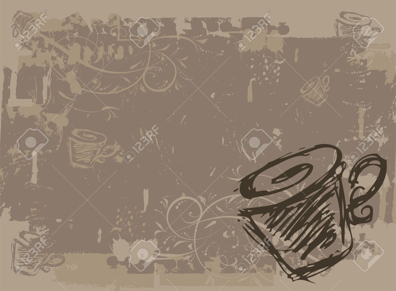 Cup of tea, grunge background for your design Stock Vector - 6927699