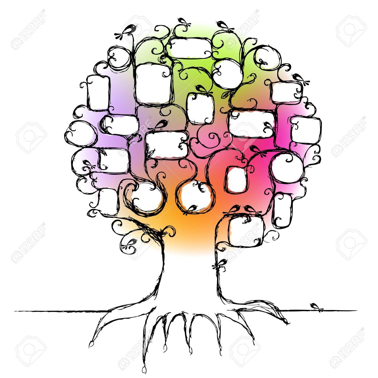 Diseño Del árbol De La Familia, Inserte Marcos A Tus Fotos ...