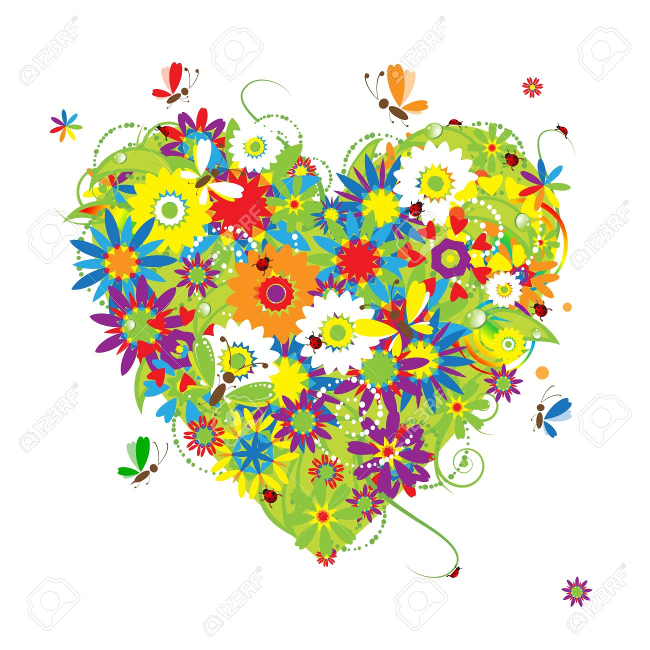 Summer floral heart for your design Stock Vector - 6927756