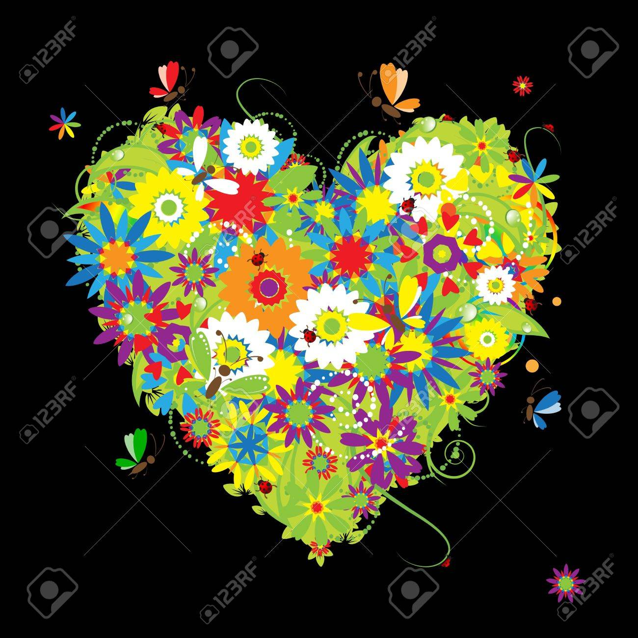 Summer floral heart for your design Stock Vector - 7107808