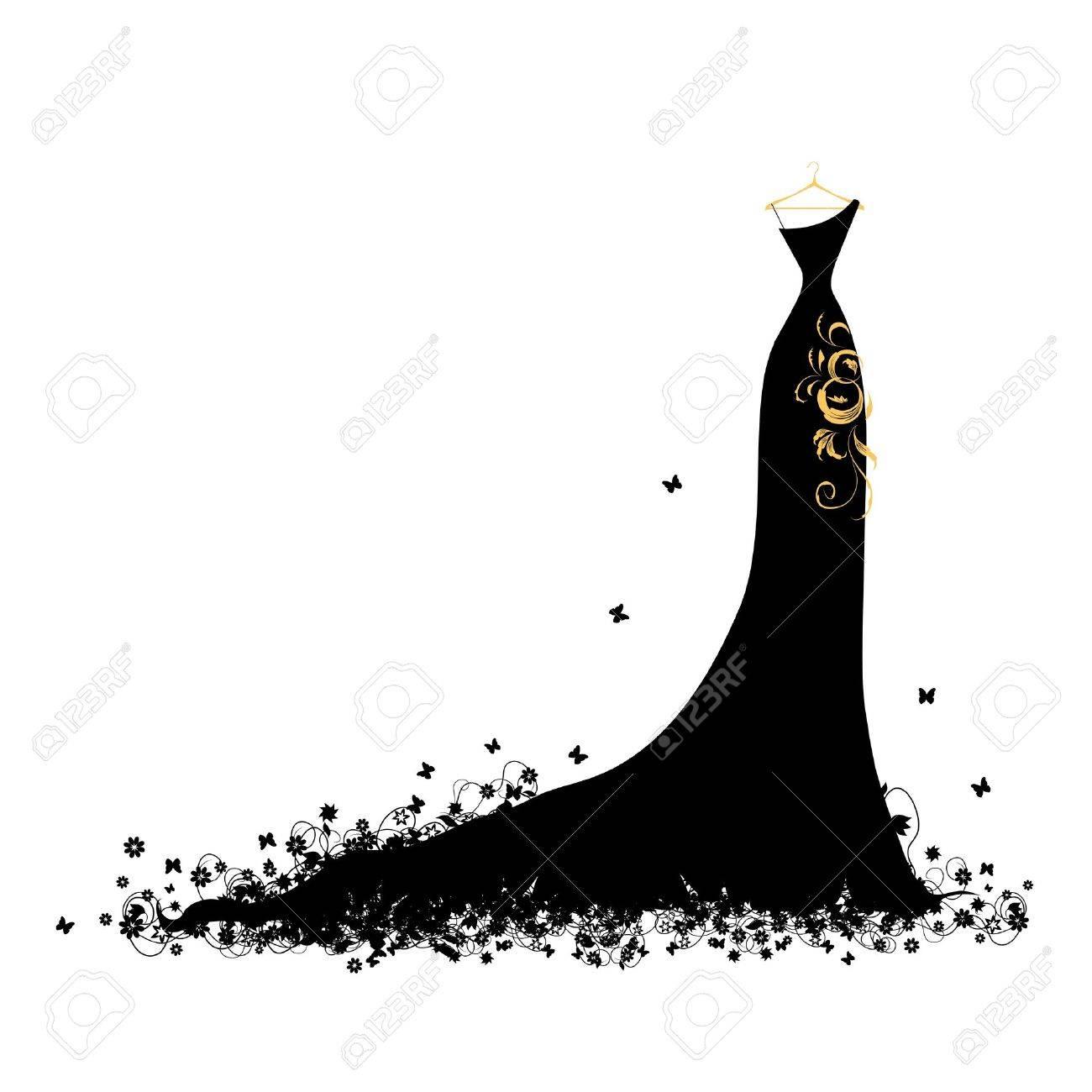 Evening dress black on hangers Stock Vector - 7107840