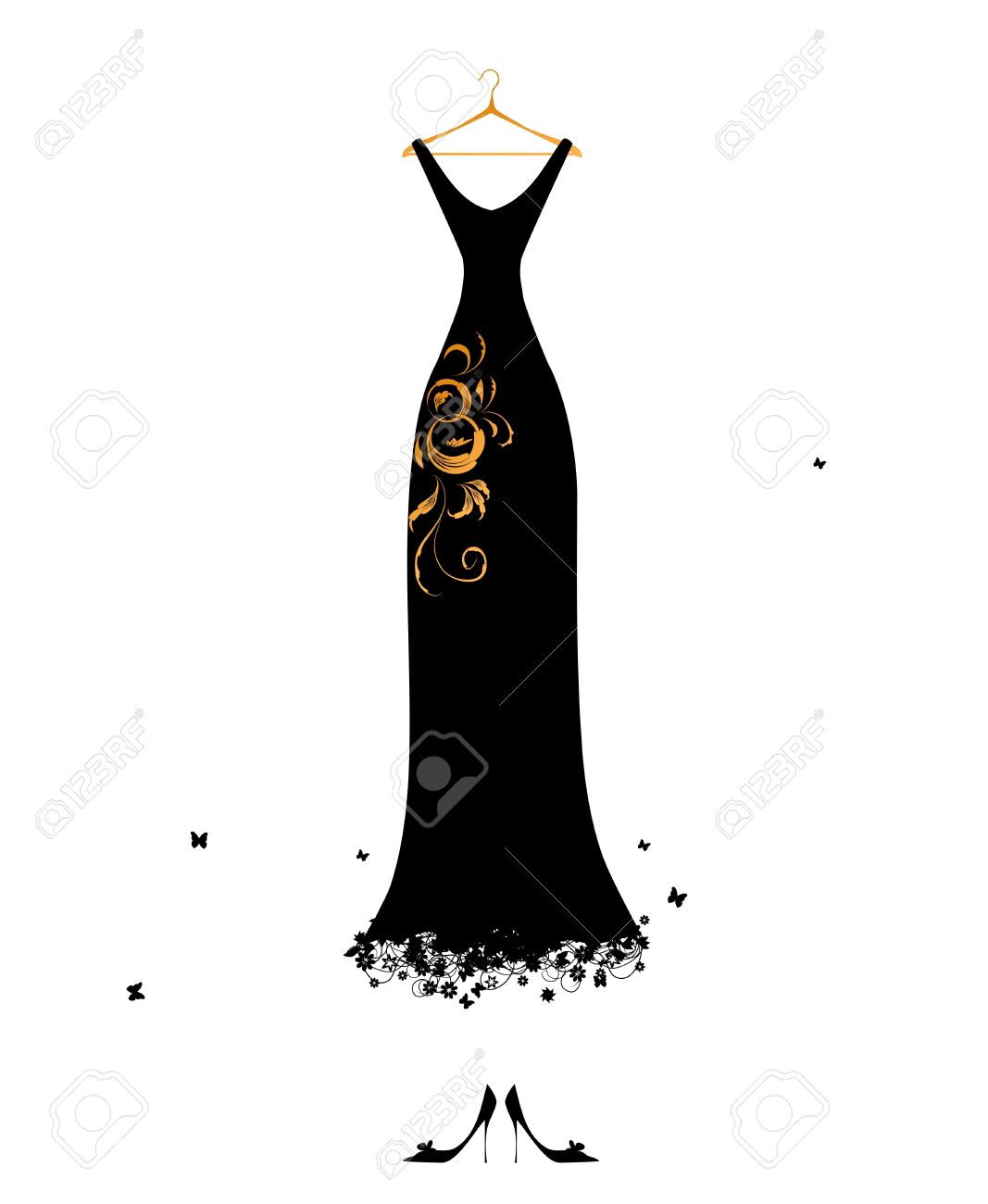 Black dress cartoon - Evening Dress Black On Hangers Stock Vector 7107792