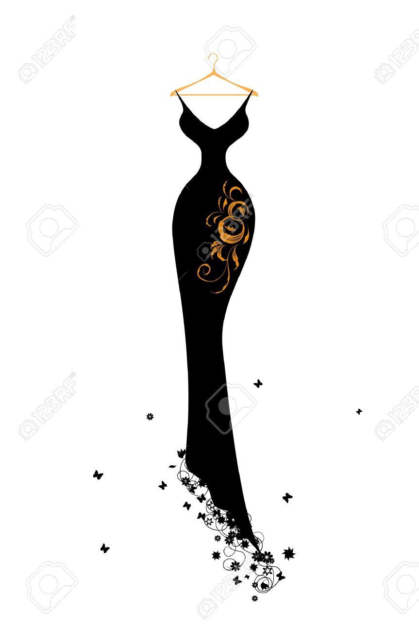 Evening dress black on hangers Stock Vector - 7107767