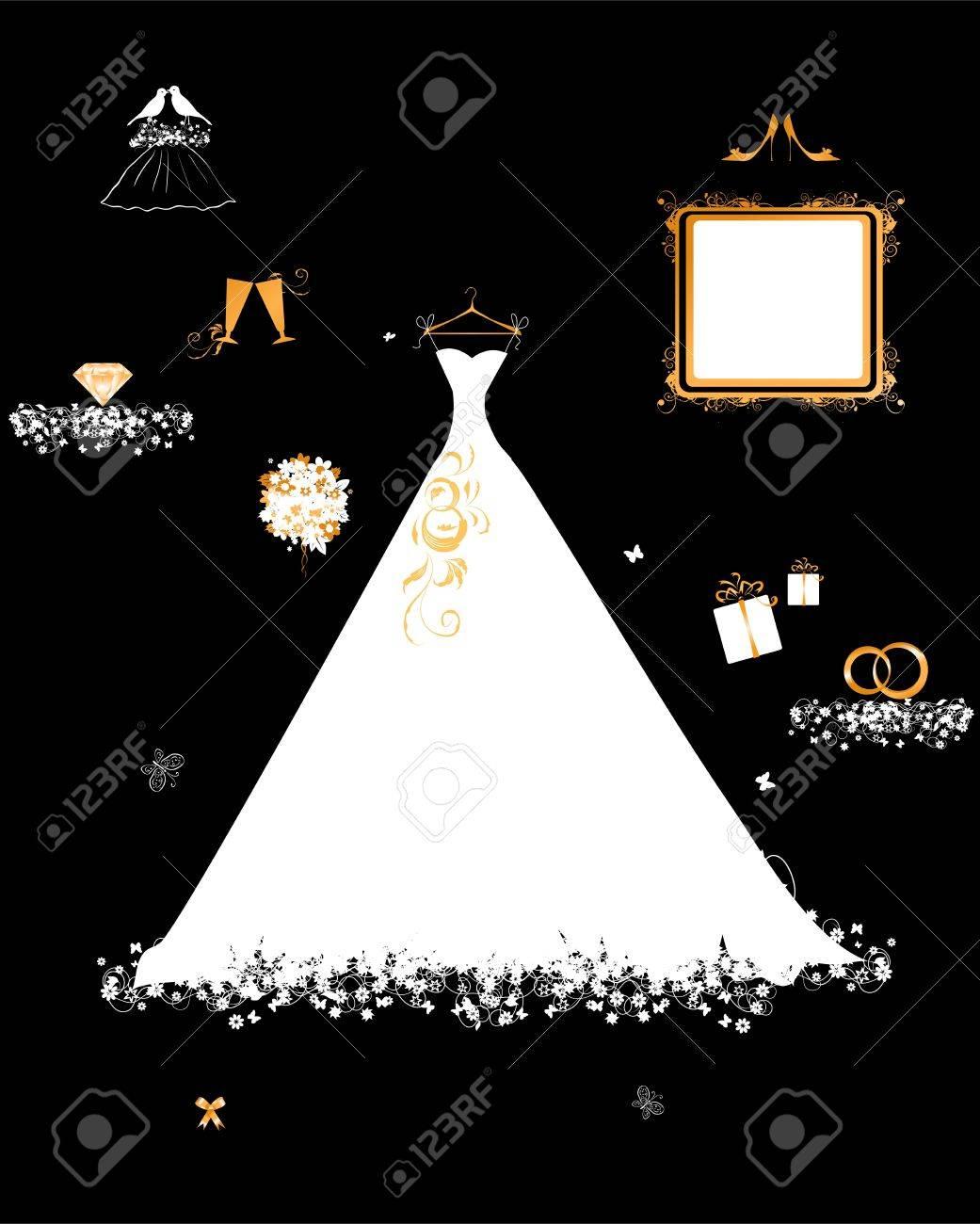 Hochzeit-Shop, Weißes Kleid Und Zubehör Lizenzfrei Nutzbare ...