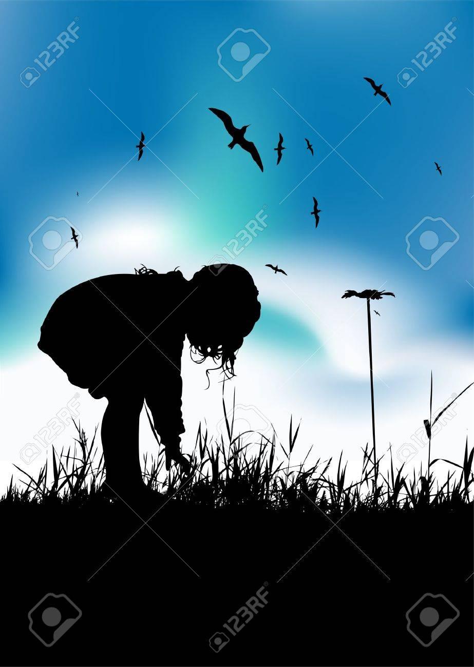 Little girl ispicking flowers on field, black silhouette Stock Vector - 7199648