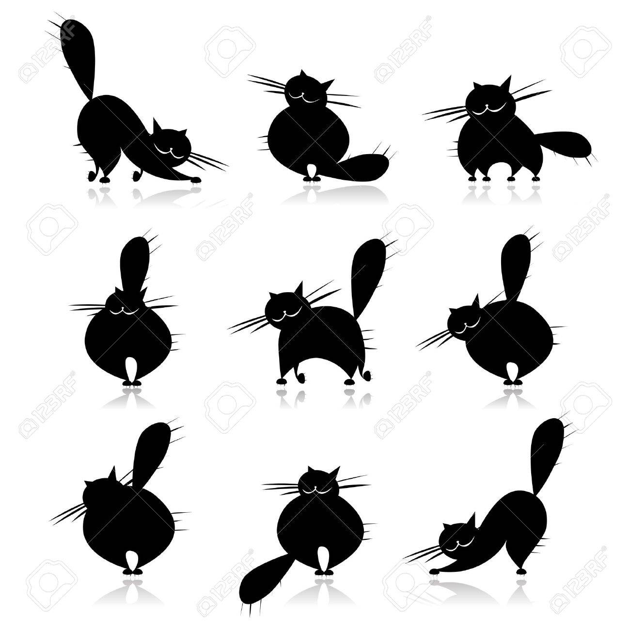 Funny black fat cats silhouettes for your design Stock Vector - 7715258