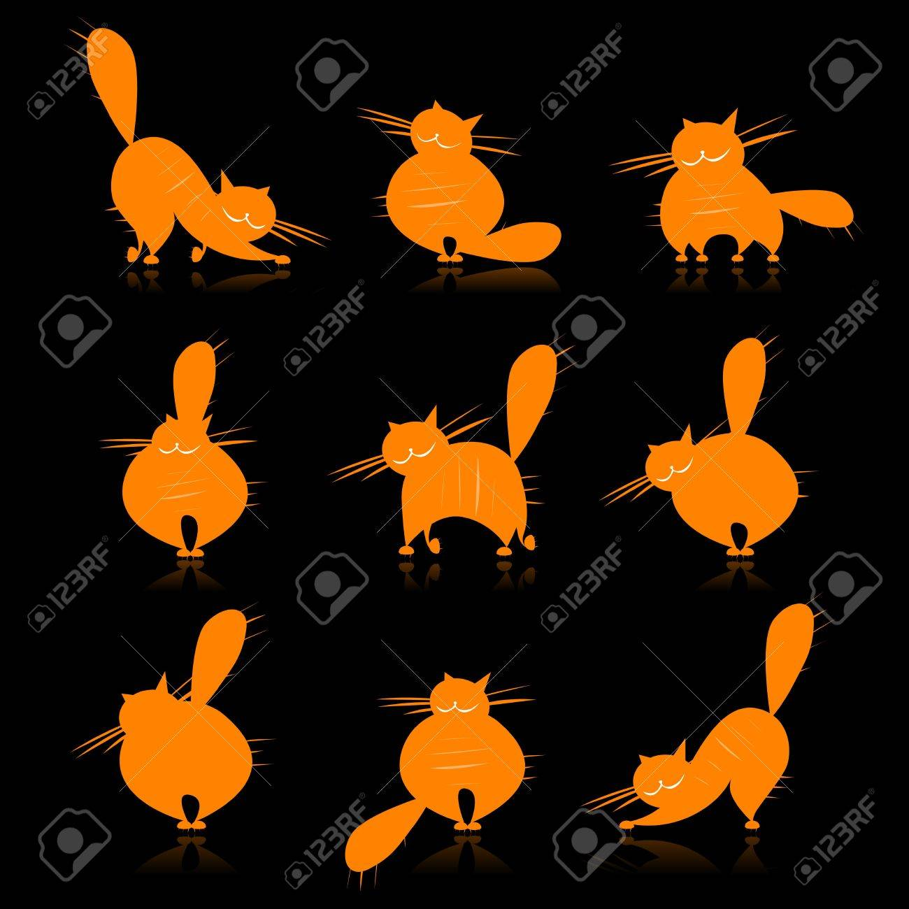 Funny orange fat cats silhouettes for your design Stock Vector - 7715256