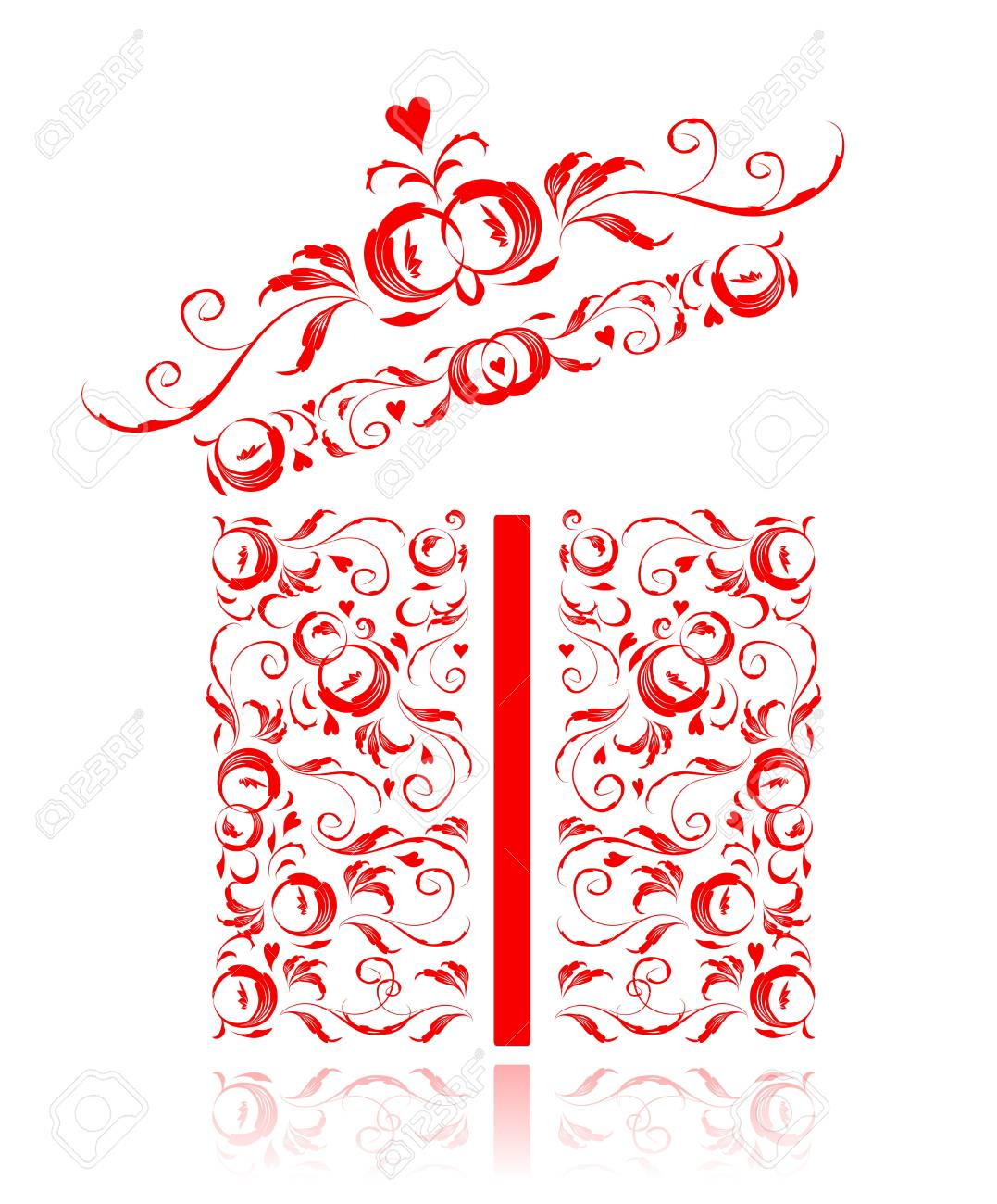 Opened gift box stylized, floral ornament design Stock Vector - 7715285