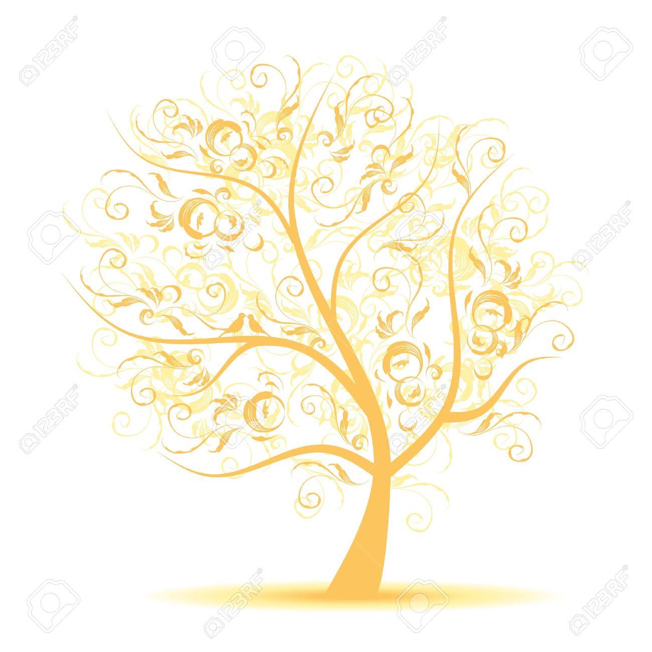 Art tree beautiful, black silhouette Stock Vector - 7715292