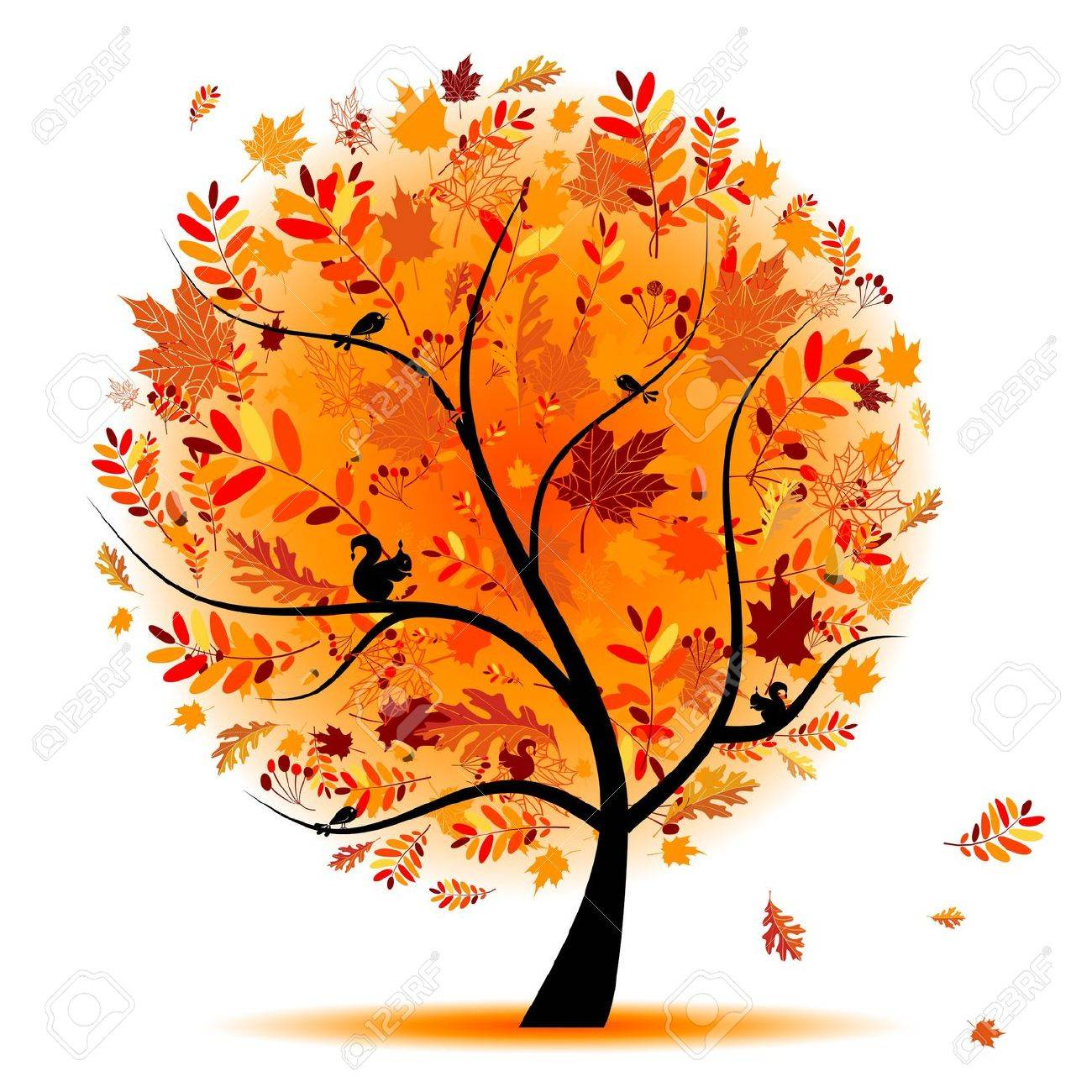 Beautiful autumn tree for your  Cartoon Fall Tree With Branches
