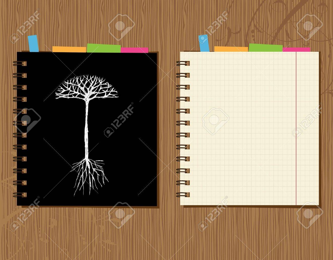 Notebook cover and page design on wooden background Stock Vector - 7770160