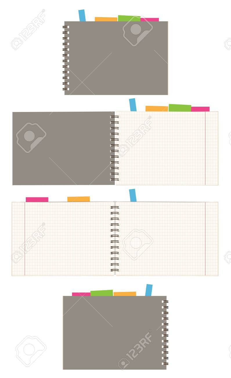 Notebook design, cover and open pages Stock Vector - 7770135