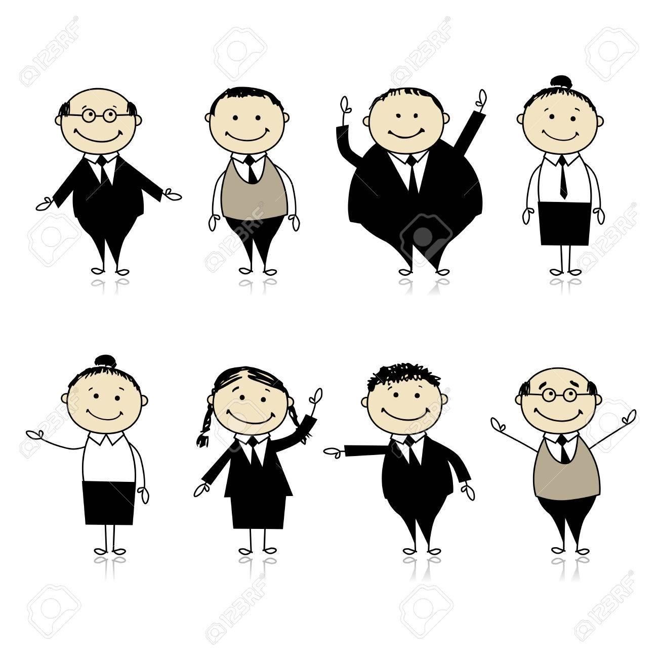 Business team cartoon characters cartoon vector cartoondealer com - Salesman Cartoon Set Of Business Persons For Your Design Illustration