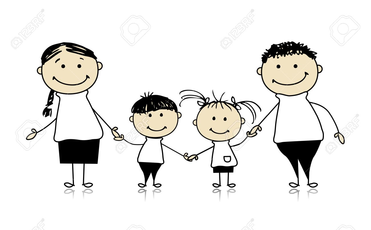 Happy Family Smiling Together Drawing Sketch Royalty Free Cliparts Vectors And Stock Illustration Image 8021473