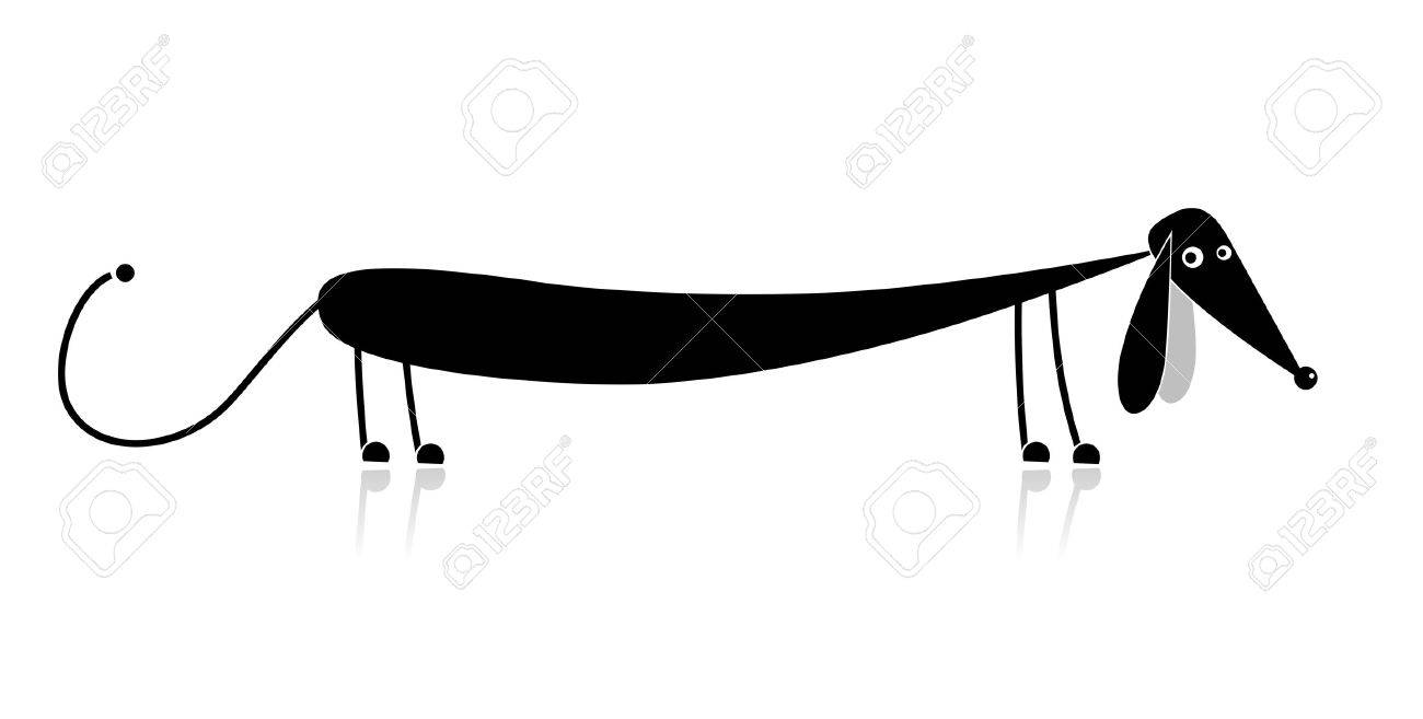 Funny black dog silhouette for your design Stock Vector - 8099008