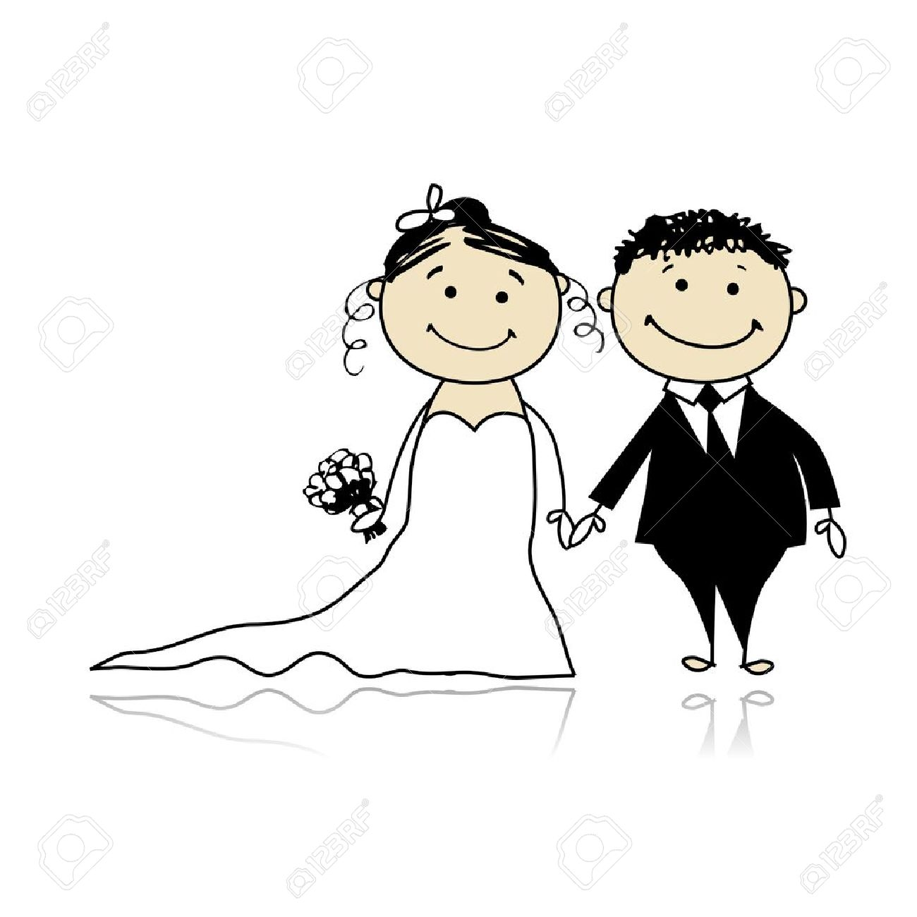 Wedding ceremony - bride and groom together for your design Stock Vector - 8362461