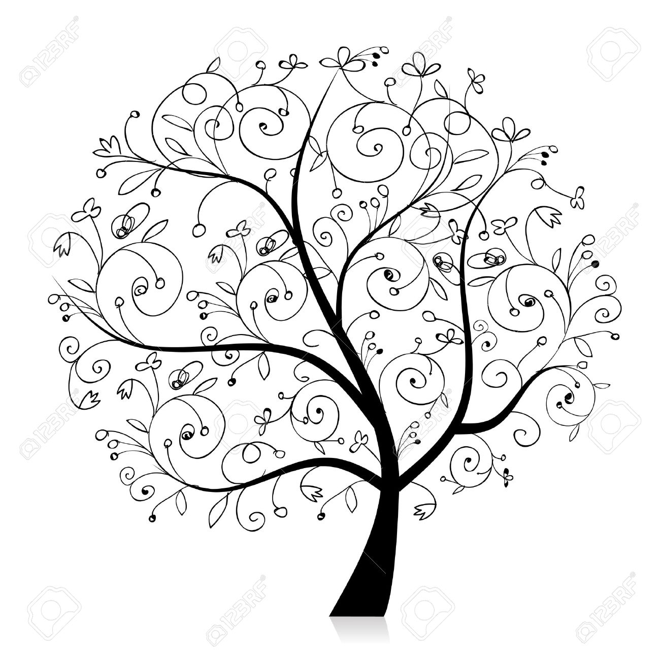 Art Tree Beautiful Black Silhouette For Your Design Royalty Free