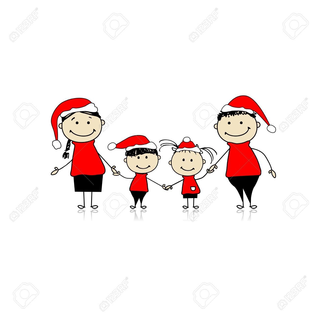 Happy family smiling together, christmas holiday Stock Vector - 8362464