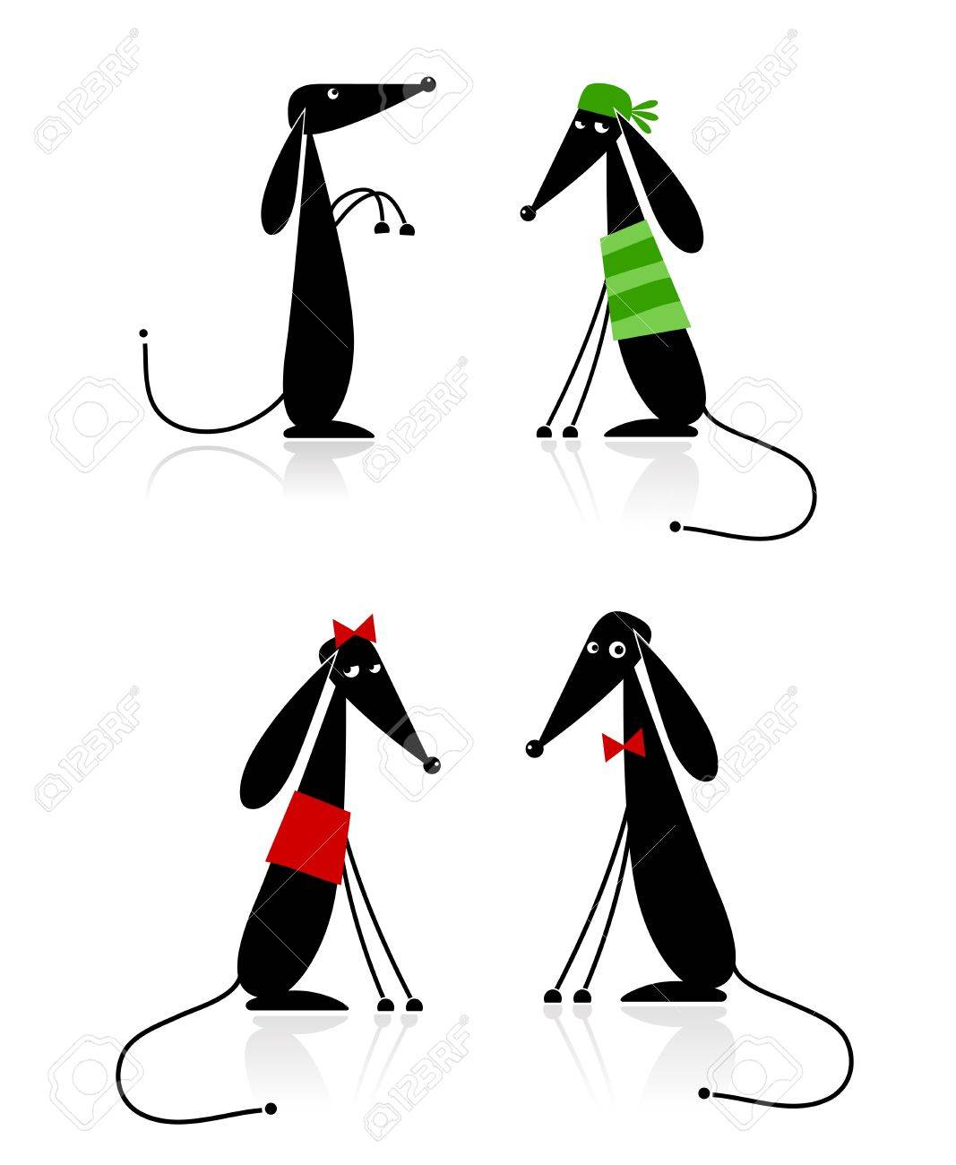 Funny black dogs silhouette, collection for your design Stock Vector - 8362448
