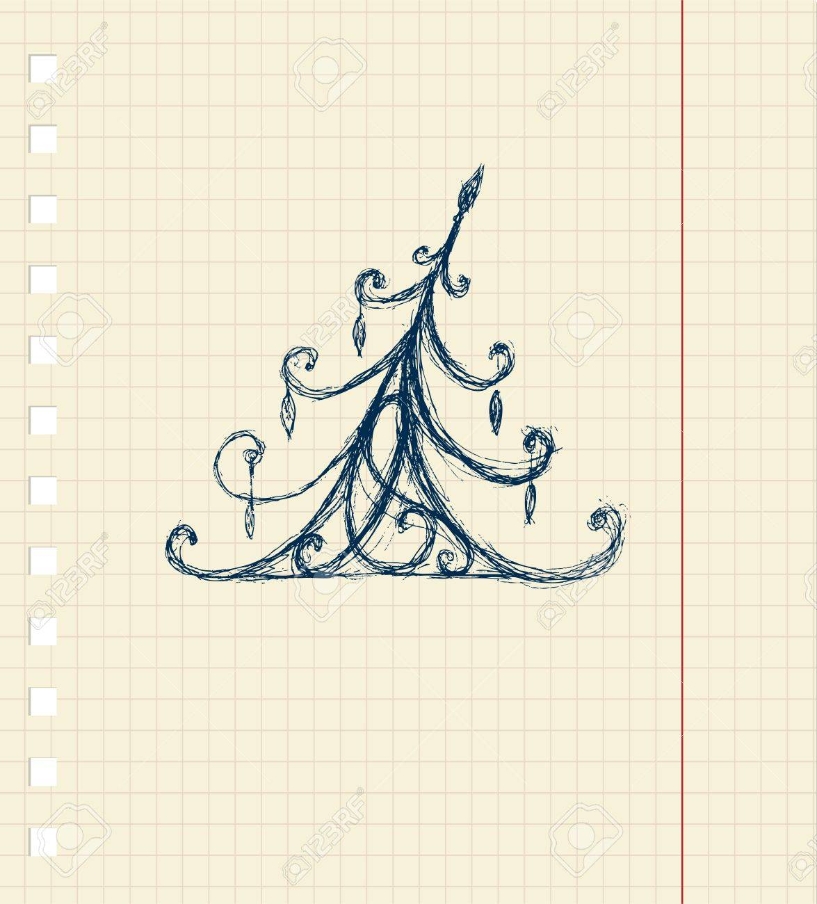 Sketch of christmas pine ornament on notebook sheet Stock Vector - 8362517