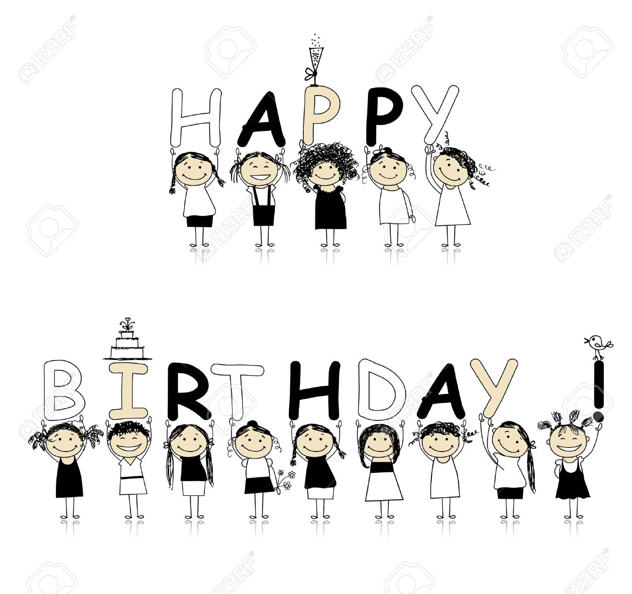 Happy birthday from beautiful smiling girls Stock Vector - 8591978