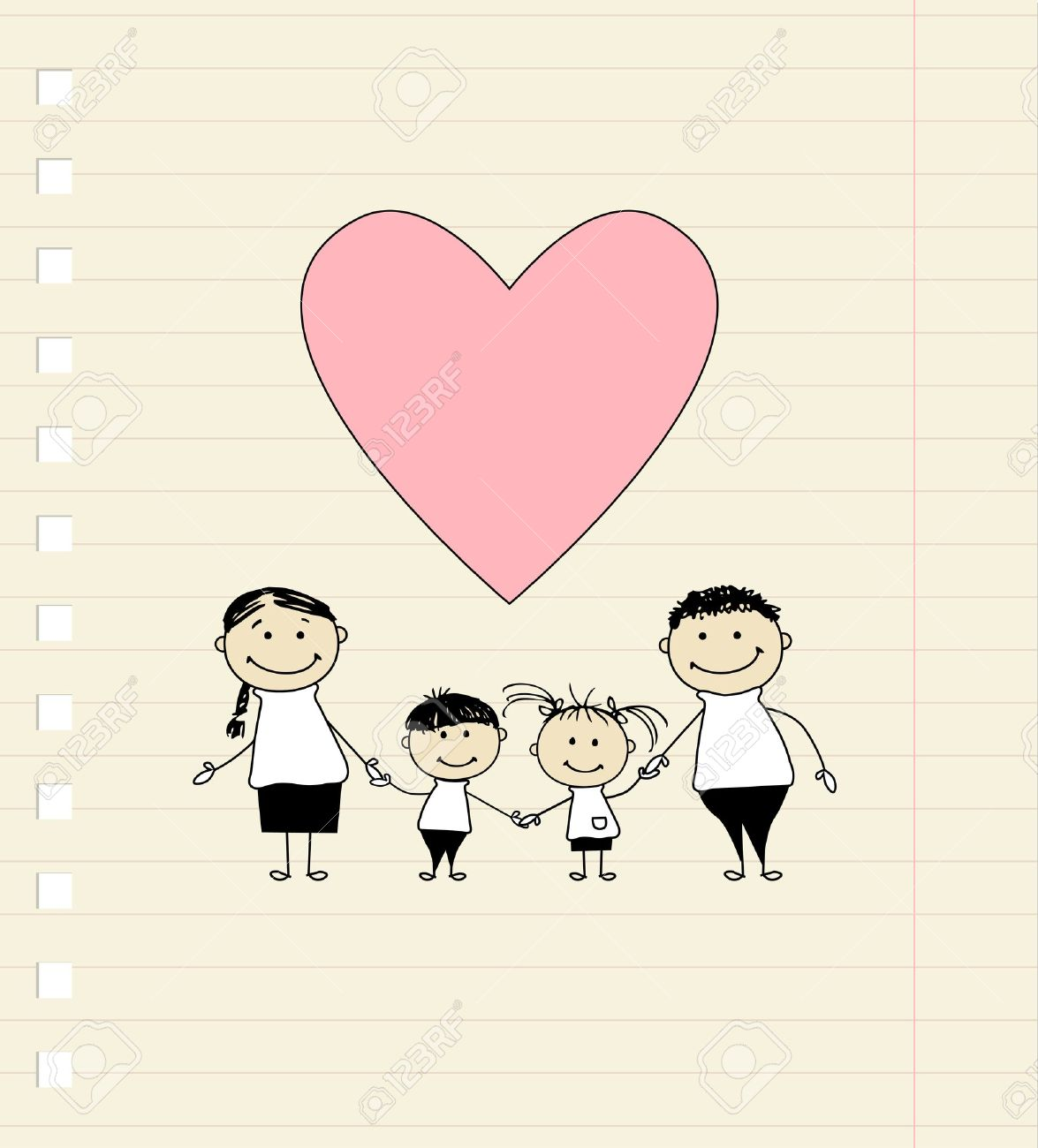 Happy family with love, drawing sketch Stock Vector - 9128539