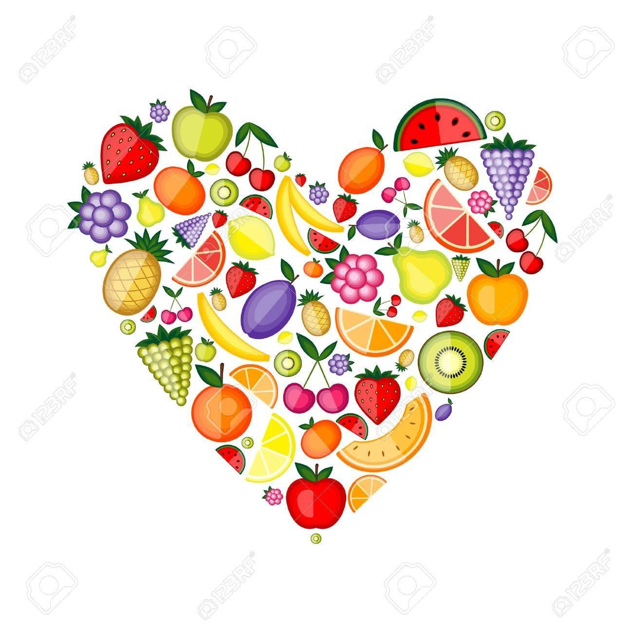 Energy fruit heart shape for your design Stock Vector - 9128641