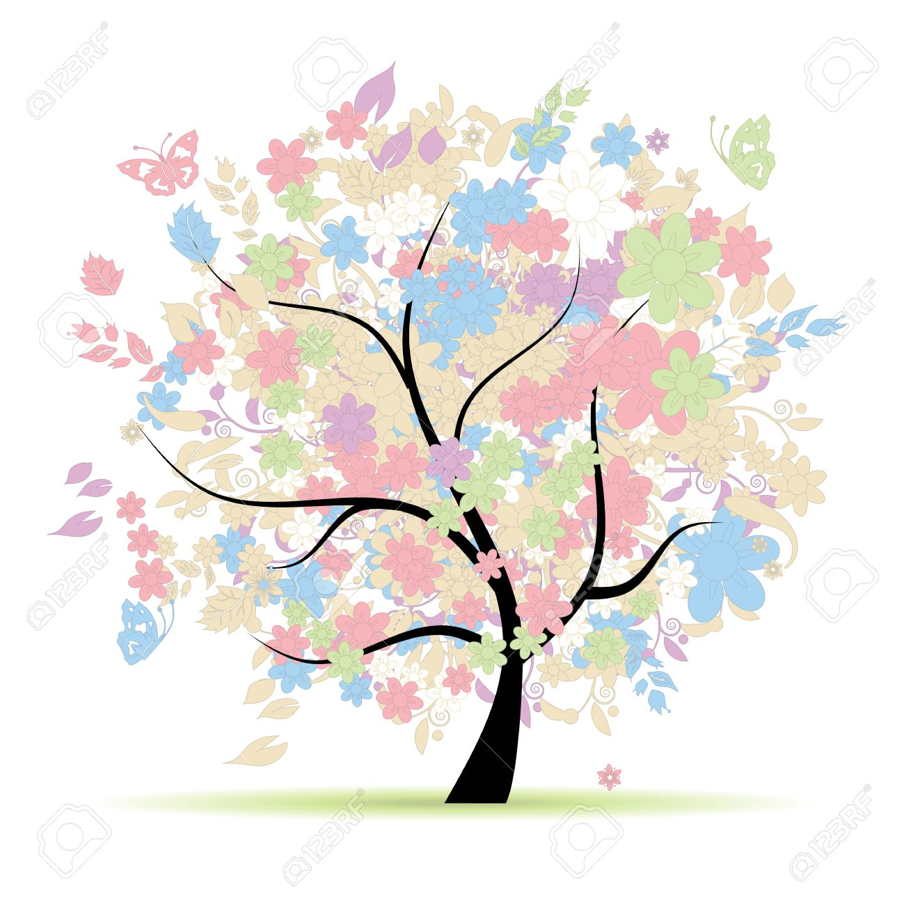 Floral tree in pastel colors for your design, spring - 9128621