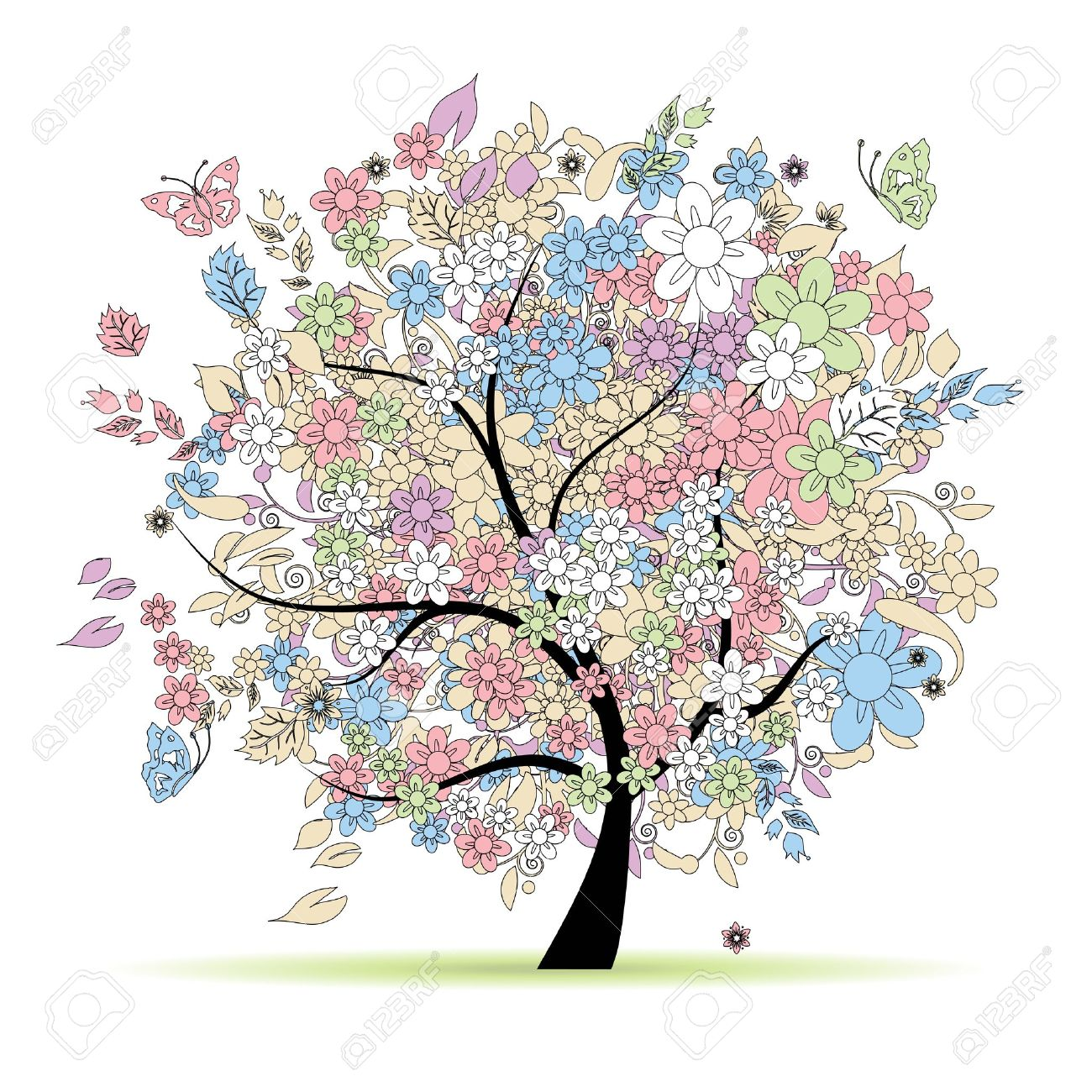 Floral tree in pastel colors for your design, spring Stock Vector - 9128620