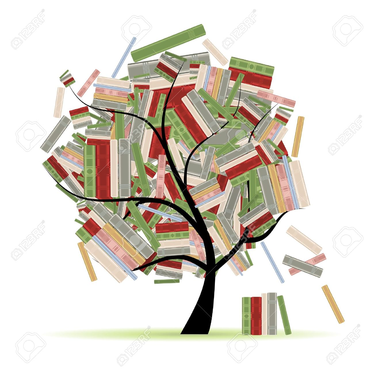 Books library on tree branches for your design Stock Vector - 9128677