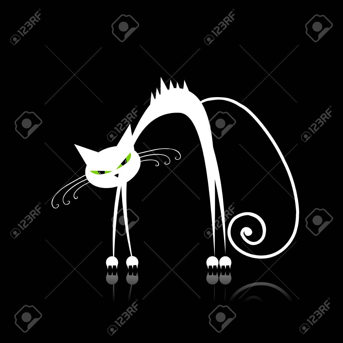 Angry white cat for your design Stock Vector - 9128534