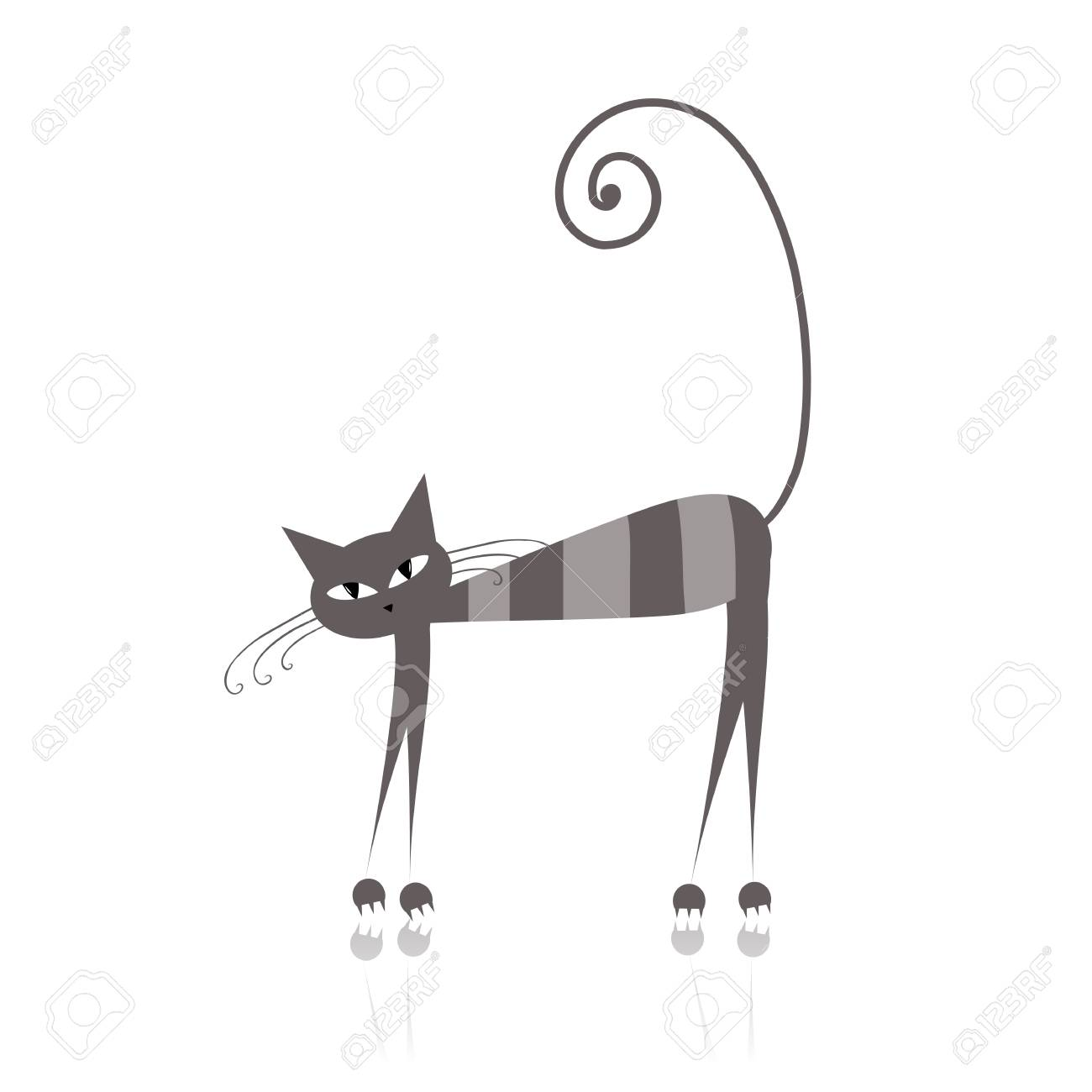 Funny grey striped cat for your design Stock Vector - 9128473