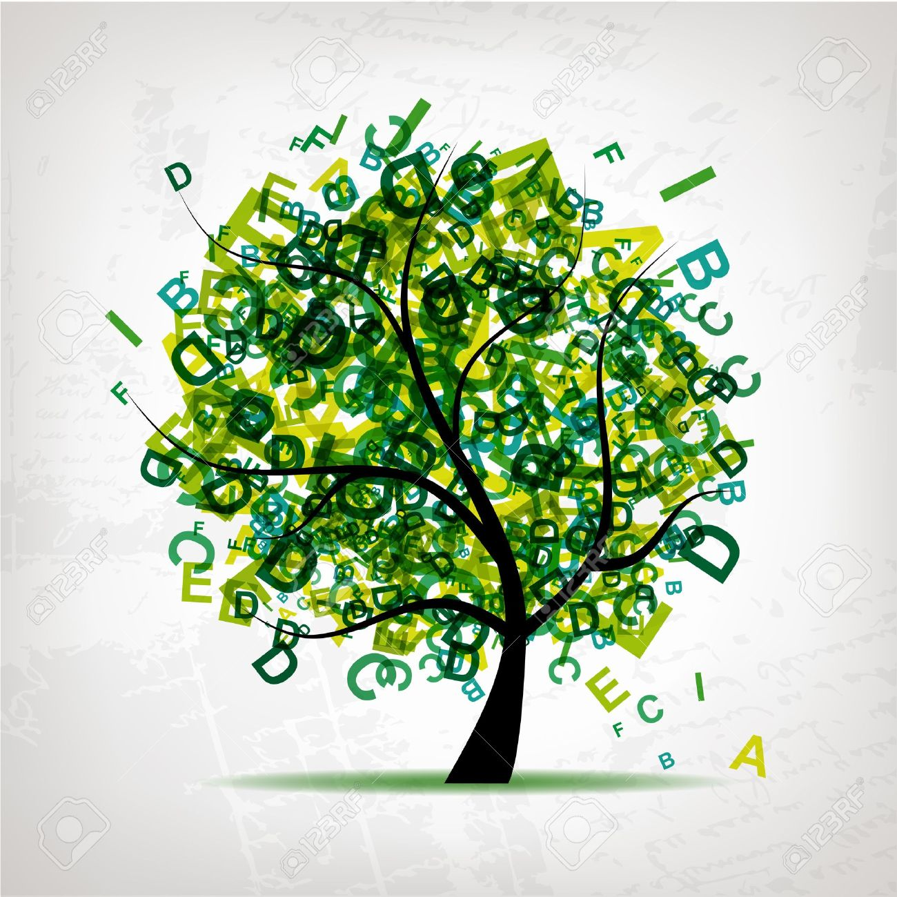 Art tree with letters green for your design Stock Vector - 9128734