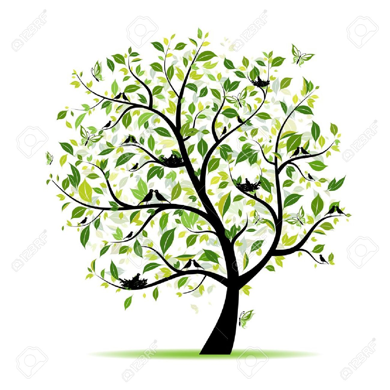 Spring tree green with birds for your design - 9128660
