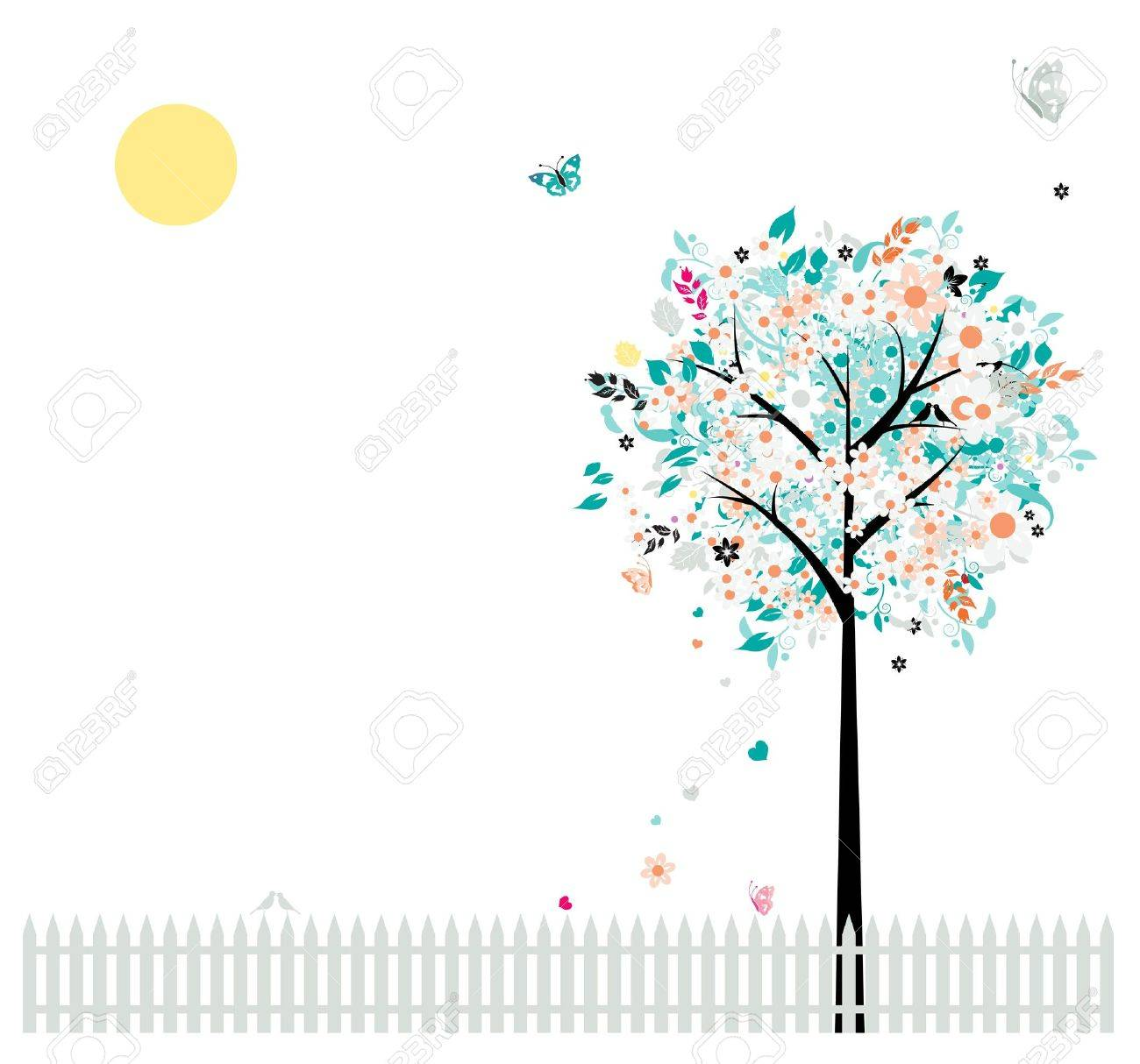 Floral tree beautiful for your design, birds on fence Stock Vector - 9128630