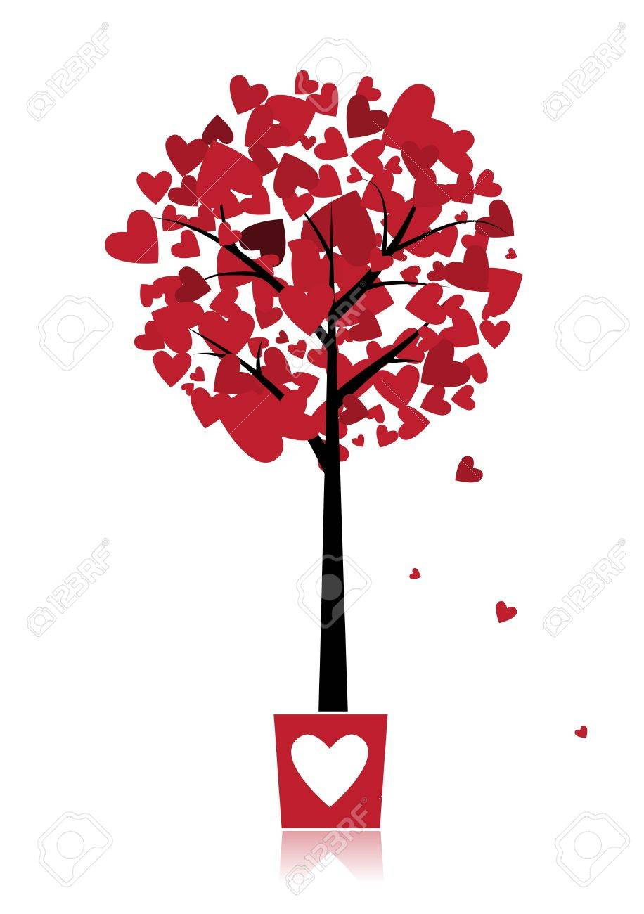 Tree of love in pot for your design Stock Vector - 9128515