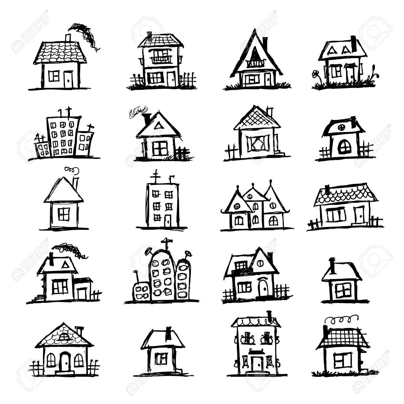 sketch of art houses for your design royalty free cliparts