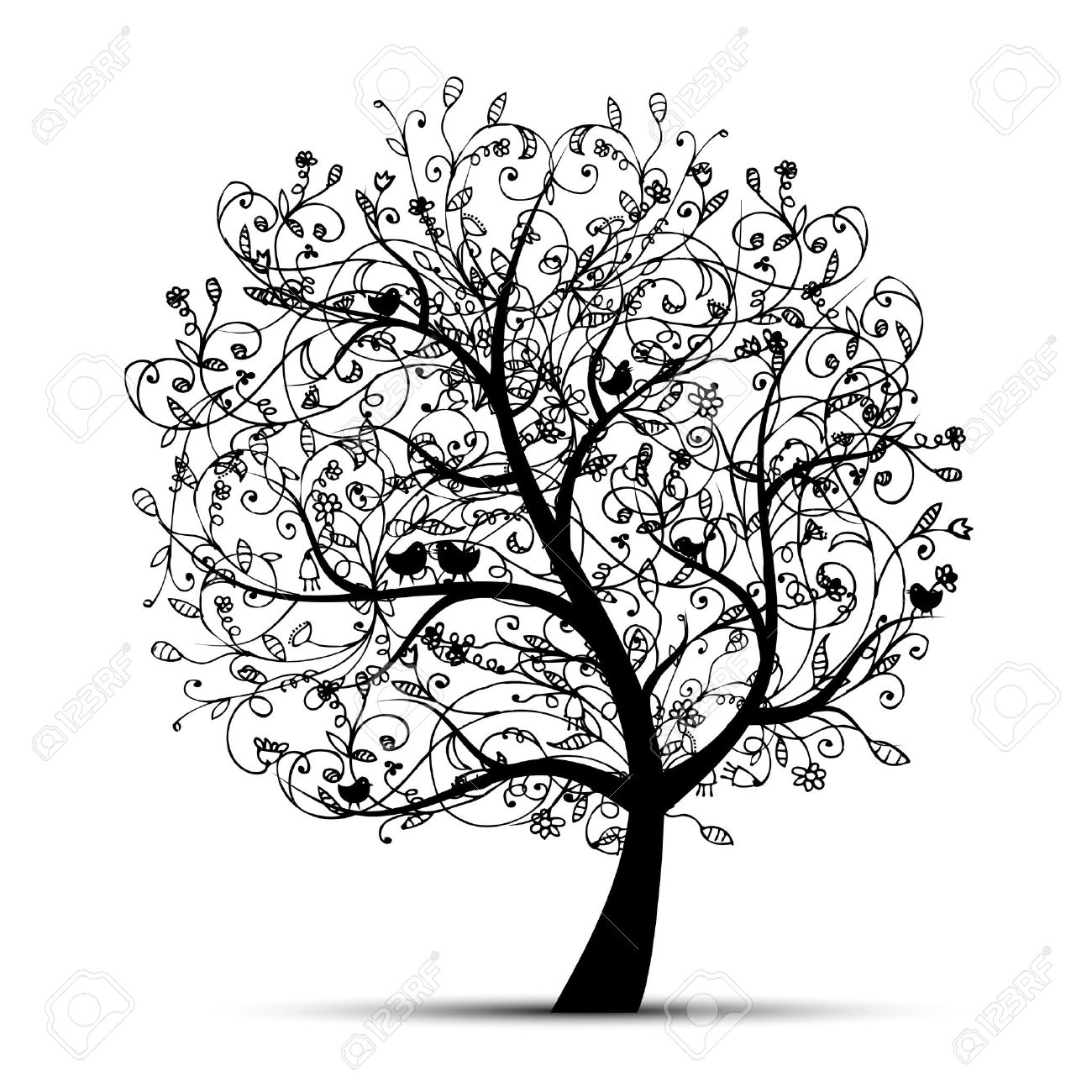 dessin arbres Arbre art beau silhouette noire pour votre design