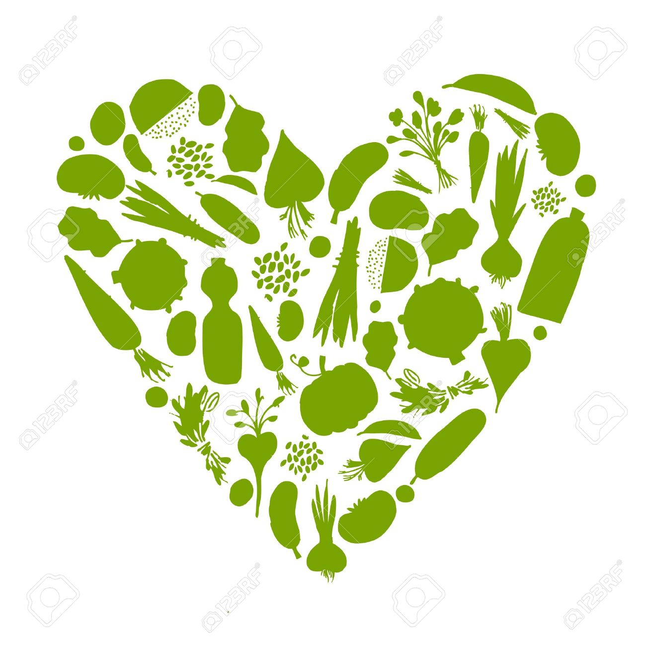 Healthy life - heart shape with vegetables for your design - 9348452