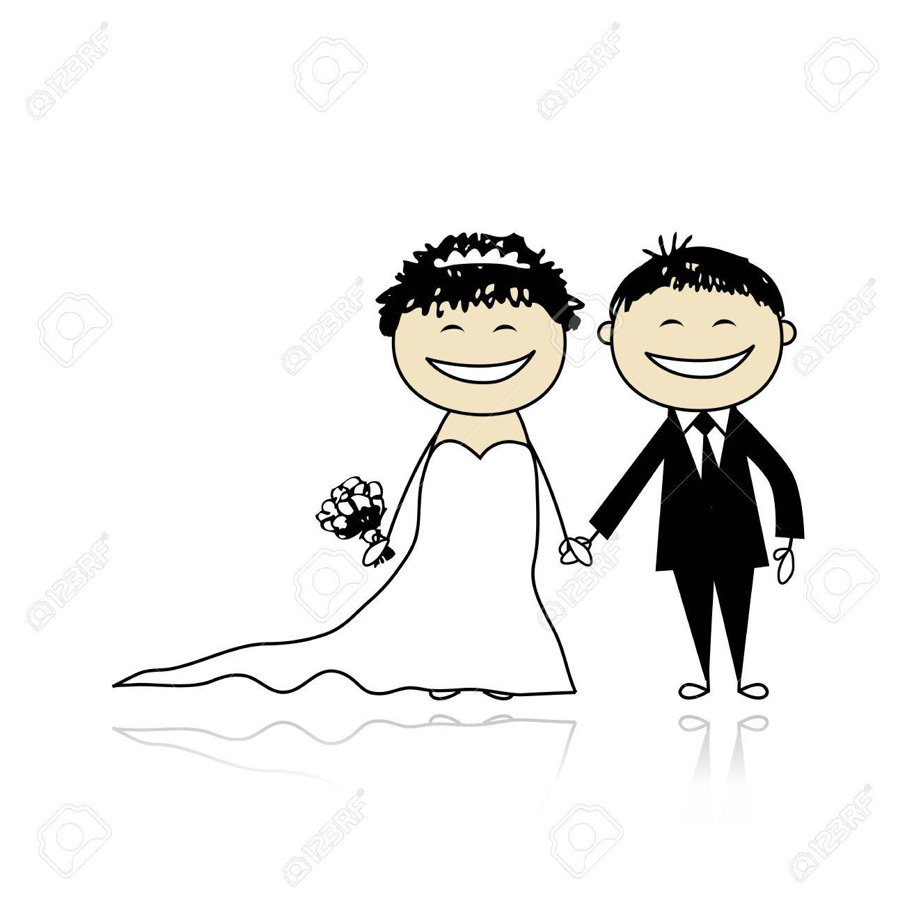Wedding ceremony - bride and groom together for your design Stock Vector - 9348526