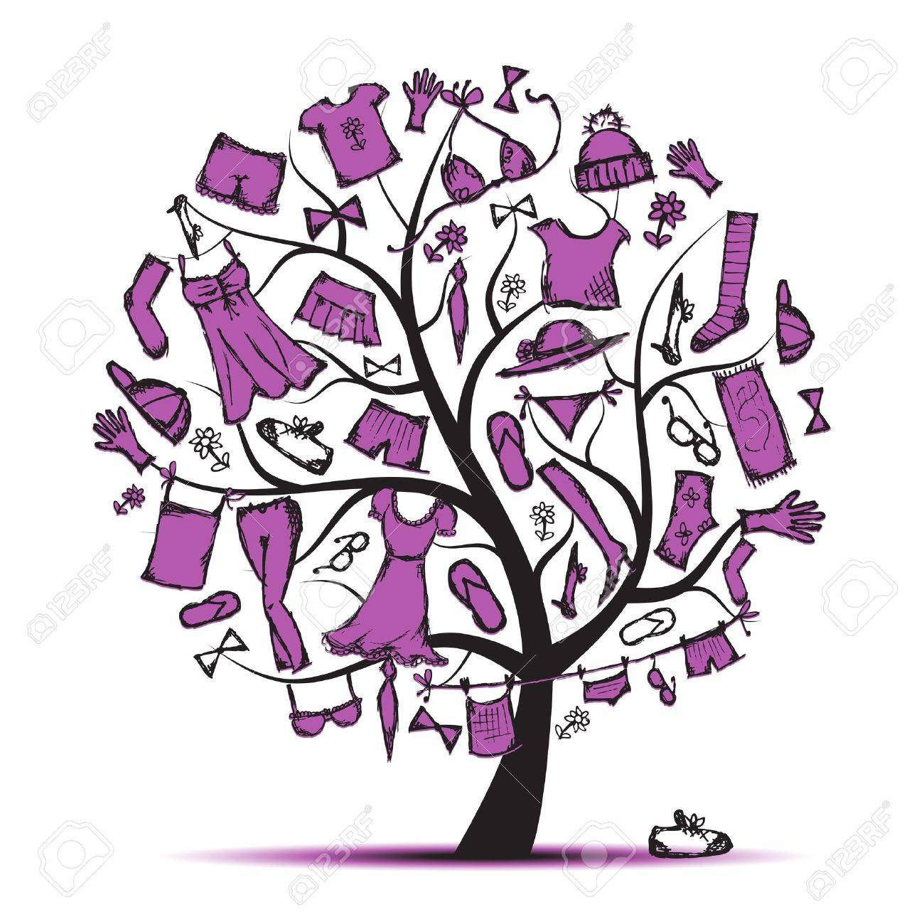 wardrobe clothes on tree for your design stock vector