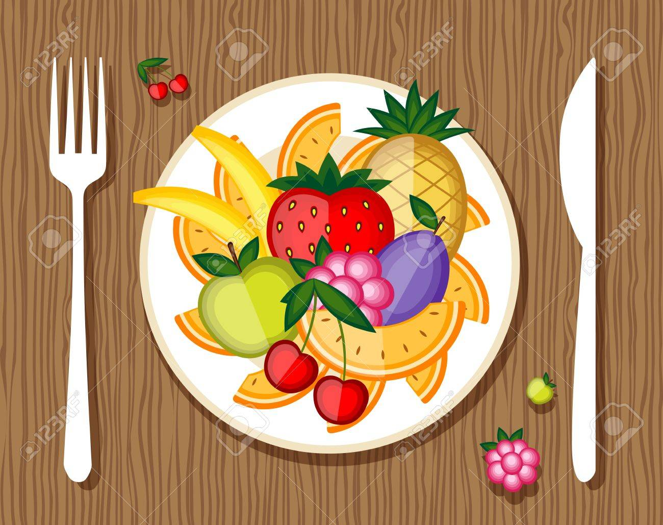 Fruits on plate with fork and knife on wooden background for your design Stock Vector - 9579815